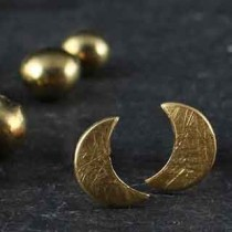 Flat Crescent Tiny Post Earring